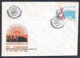 Independence Of Zimbabwe 1980.Stamp Of Mozambique.Stylized Map Zimbabwe.Unabhängigkeit Von Simbabwe.Armed Struggle. - Mozambique