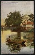 RB 1217 -  Early Ceylon Sri Lanka Postcard - Villager In His Dug-Out Canoe - 6c Rate To UK - Sri Lanka (Ceylon)
