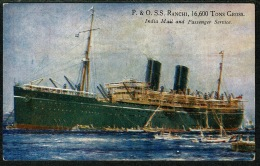 RB 1217 -  Early Postcard - P & O Ship S.S. Ranchi - India Mail & Passenger Service - Maritime Theme - Steamers