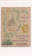Grand Cannevas Original Religieux ( Brodée Tissus ) Année 1898 église De NERONDES Souvenir De Ses Noces ( Mr Le Curé ) - Unclassified