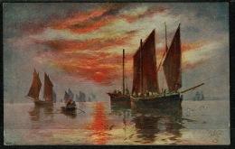 RB 1217 -  Early Raphael Tuck. Postcard - Fishing Smacks - Maritime Theme - Fishing Boats
