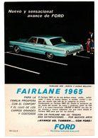 RECORTE DE PRENSA REVISTA O PERIÓDICO PUBLICIDAD COCHE FORD FAIRLANE 1965 FALCON ADVERTISING PRESS CAR AUTOMÓVIL VER FOT - Publicidad
