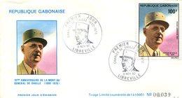 FDC Rép. Gabonaise : 10éme Anniversaire De La Mort Du Général De Gaulle - Libreville 9 Nov 1980 - N°39/1000 - Gabon