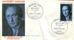 FDC Rép. Gabonaise : 20éme Anniversaire De La Mort De Konrad Adenauer - Libreville 15 Avril 1987 - Gabon