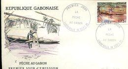 FDC Rép. Gabonaise : La Pêche Au Gabon - Libreville 18 Sept 1991 - Gabon