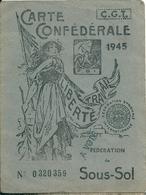58 LA MACHINE - Carte  Confederale  C G T De Mineur En 1945 - La Machine