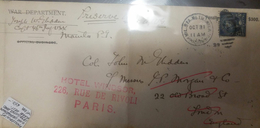 O) 1899 PHILIPPINES, WAR DEPARTMENT ULYSSES GRANT 5 CENTS - PENALTY $300 - FROM MANILA TO HOTEL WINDSOR  PARIS, RRR- NIC - Philippines