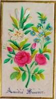 Peinte & Brodée / Soie  ROSES Et Fleur De Lys  Image Pieuse  1876 ,  OLD HOLY CARD EMBROIDERED SILK HAND PAINTED - Images Religieuses