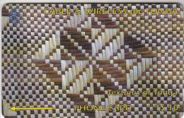 TONGA(GPT) - Textures Of Tonga 2(white & Brown), CN : 65CTGA, Tirage 10000, Used - Tonga