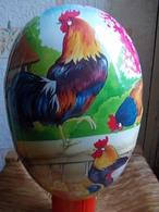 *OEUF DE PAQUES Géant GERMANY Papier Maché GRENOUILLE POULE CANARD  11cmx5cm *NESTLER GERMAN EASTER EGG Paper Mache - Eggs