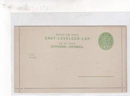 ENTIER ENTERO MAGYAR KR POSTA ZART LEVELEZO LAP GREEN COLOR UNCIRCULATED HONGRIE CIRCA 1900's-BLEUP - Postal Stationery