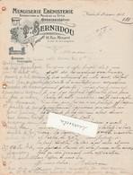 Facture 1910  / T. BERNADOU / Menuiserie / 30 Nîmes Gard - France
