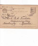 ENTIER ENTERO MAGYAR KIR  LEVELEZO LAP DARK COLOR CIRCULATED TO BREMEN. HONGRIE CIRCA 1900-BLEUP - Postal Stationery