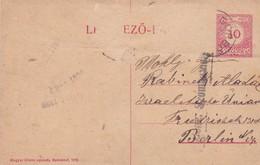 ENTIER ENTERO MAGYAR KIR  LEVELEZO LAP RED COLOR CIRCULATED TO BERLIN. HONGRIE CIRCA 1900-BLEUP - Postal Stationery