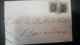 O) 1883 APROX. CUBA-CARIBE, CARIBBEAN, ARAÑITAS TYPE C OVERPINTED ON 10c, - ARANITAS,  BALCELLS. TO BARCELONA - Cuba