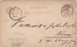 ENTIER ENTERO LEVELEZO LAP CIRCULEE TO WIEN. HONGRIE CIRCA 1882-BLEUP - Postal Stationery