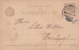 ENTIER ENTERO MAGYAR KIRALYI LEVELEZO LAP CIRCULEE TO HAMBURG. HONGRIE CIRCA 1900's-BLEUP - Postal Stationery