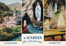 POSTCARD FRANCE - A LOURDES - LA BASILIQUE - LA GROTTE - SOUVENIR DE LOURDES - Wallis Et Futuna