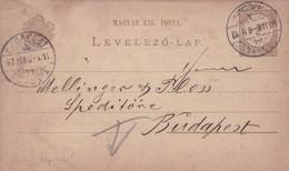ENTIER ENTERO MAGYAR KIRALYI LEVELEZO LAP CIRCULEE TO BUDAPEST. HONGRIE CIRCA 1897-BLEUP - Postal Stationery