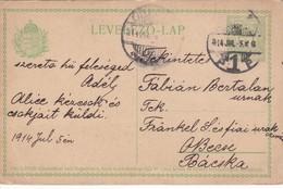 ENTIER ENTERO MAGYAR KIRALYI LEVELEZO LAP CIRCULEE TO BACSKA. HONGRIE CIRCA 1914-BLEUP - Postal Stationery