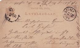 ENTIER ENTERO MAGYAR KIRALYI LEVELEZO LAP CIRCULEE TO BUDAPEST. HONGRIE CIRCA 1887-BLEUP - Postal Stationery