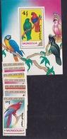 Mongolia  (Sc# 1896-1902, 1903 S/S) MNH   BIRDS----PARROTS (1990)2s - Mongolia