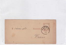ENTIER ENTERO MAGYAR KIR CIRCULEE TO KASSAN. HONGRIE CIRCA 1887-BLEUP - Postal Stationery