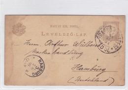 ENTIER ENTERO MAGYAR KIR CIRCULEE TO HAMBURG. HONGRIE CIRCA 1899-BLEUP - Postal Stationery
