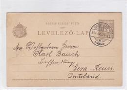 ENTIER ENTERO MAGYAR KIR CIRCULEE TO GERA REUSS. HONGRIE CIRCA 1910-BLEUP - Postal Stationery