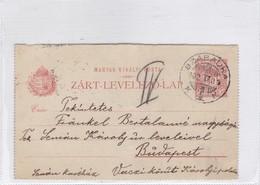 ENTIER ENTERO MAGYAR KIR CIRCULEE TO BUDAPEST. HONGRIE CIRCA 1902-BLEUP - Postal Stationery