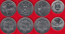 Andorra Set Of 4 Coins: 1 Centim 1999-2002 UNC - Andorre