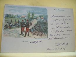 L10 9661 CPA 1903 - MILITARIAT - A LA FRONTIERE. LA HALTE - PHOTO AQUARELLE PROCEDE A. H. - ANIMATION - Manoeuvres