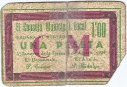 España - Spain 1 Peseta 1937 Villanueva De La Serena (Badajoz) Ref Vva/6 - [ 3] 1936-1975 : Régence De Franco
