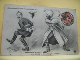 L10 9675 CPA 1915 - MILITARIAT - COMMENT ON LE TRAITE ! A LA RUSSE. BRAVO COSAQUE ! CONTINUE. (RUSSE FOUETTE ALLEMAND) - Humour