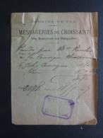 VIEUX PAPIER Des Chemins De FER  MESSAGERIES DU CROISSANT    AUTOGRAPHE Cachet Messagerie    1899 Clas 3. - Documents Historiques