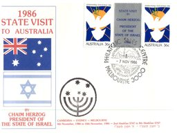 (200) Australian FDC Cover - 1986 - State Visit Israel President To Australia Official Overprint Cover + Special Stamp - Primo Giorno D'emissione (FDC)