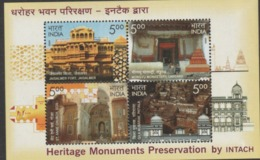 INDIA-2009  HERITAGE MONUMENTS OF INDIA.PRESERVATION BY INTACH MINIATURE SHEET - India