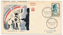 """FRANCE - FDC - Enveloppe Médéric Védy, """"Héros De La Résistance"""" - Premier Jour 1959 - 1950-1959"""