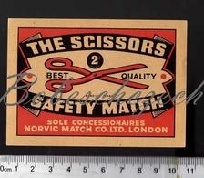 7-95 CZECHOSLOVAKIA BIG Large Format Packet Label SOLO Export GB/UK THE SCISSORS Sole Norvic Match Co.Ltd London - Boites D'allumettes - Etiquettes