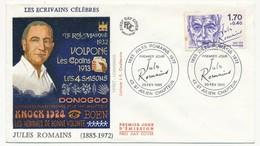 FRANCE => 6 Enveloppes FDC - Série Des écrivains : Victor Hugo, Sartre, Jules Romains... 1985 - FDC