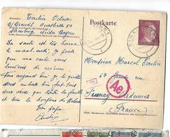 Allemagne Entier Postal  Censuré Du 13 02 1944  De Strasbourg Vers Stenay ( Ardennes ) - Lettres & Documents