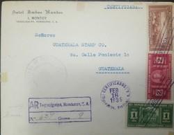 O) 1935 HONDURAS, MASONIC TEMPLE TEGUCIGALPA 1c. SCT 328-PRESIDENT CARIAS 2c SCT 329, VIEW TEGUCIGALPA 40c SCT C81-AIRPL - Honduras
