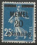 Memel (Klaipeda) - 1920 Sower Overprint  20pf/25c MH *   Mi 20  Sc 20 - Memel (1920-1924)