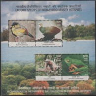 INDIA-2012   MINIATURE SHEET  / THE ENDEMIC SPECIES OF INDIAN BIODIVERSITY, HOSPET / NATURE - Unused Stamps
