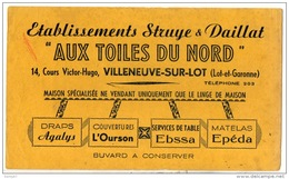 """BUVARD . 47 - VILLENEUVE-SUR-LOT . ÉTABLISSEMENT STRUYE & DAILLAT . """" AUX TOILES DU NORD """" - Réf. N°43F - - Textile & Clothing"""