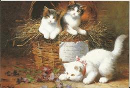 CHAT CAT KATZE ILLUSTRATEUR LEON CHARLES HUBERT NAIF 2000  CP DOUBLE  CHATON PANIER OSIER - Cats