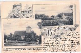 Gruss Aus BRUCHHAGEN Angermünde Kirche Schule Jugendstil 5.9.1902 Gelaufen - Angermuende