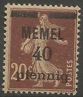 Memel (Klaipeda) - 1920 Sower Overprint  40pf/20c MH *   Mi 22  Sc 22 - Unused Stamps