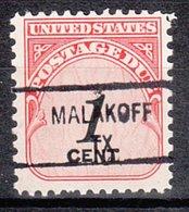 USA Precancel Vorausentwertung Preo, Locals Texas, Malakoff 841 - Vereinigte Staaten