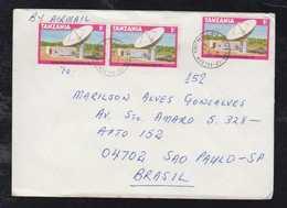 Tanzsania 1981 Airmail Cover DAR ES SALAAM To SAO PAULO Brazil 3x 1Sh Satellite Station - Tanzania (1964-...)